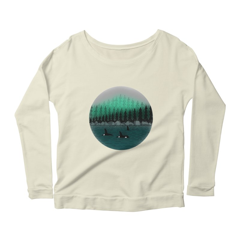 Orcas Women's Scoop Neck Longsleeve T-Shirt by northernfin's Artist Shop