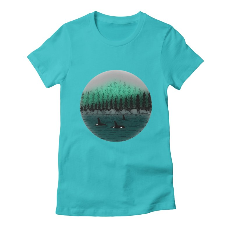 Orcas Women's Fitted T-Shirt by northernfin's Artist Shop