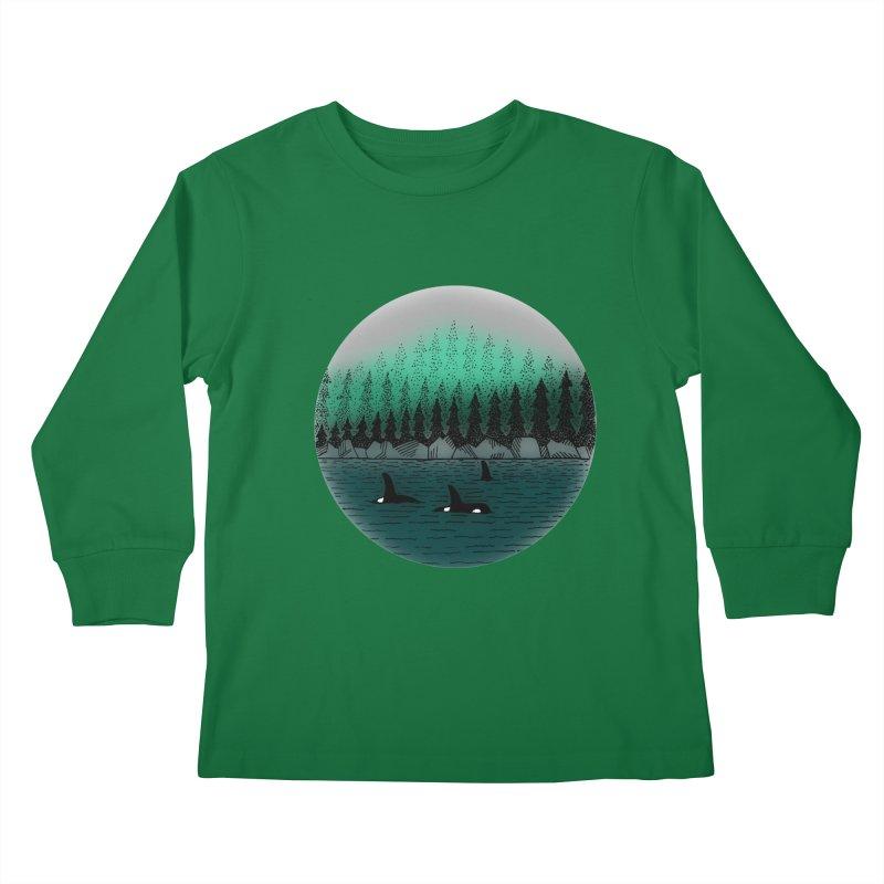 Orcas Kids Longsleeve T-Shirt by northernfin's Artist Shop