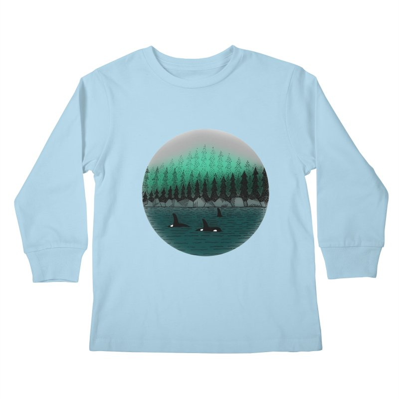 Orcas Kids Longsleeve T-Shirt by northernfin's Artist Shop
