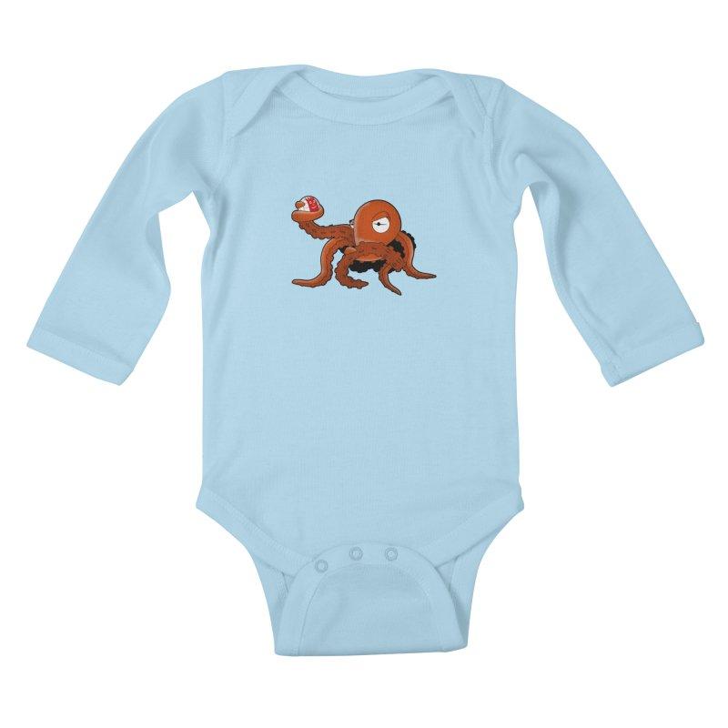 Octopus Wilson Kids Baby Longsleeve Bodysuit by notblinking's Artist Shop