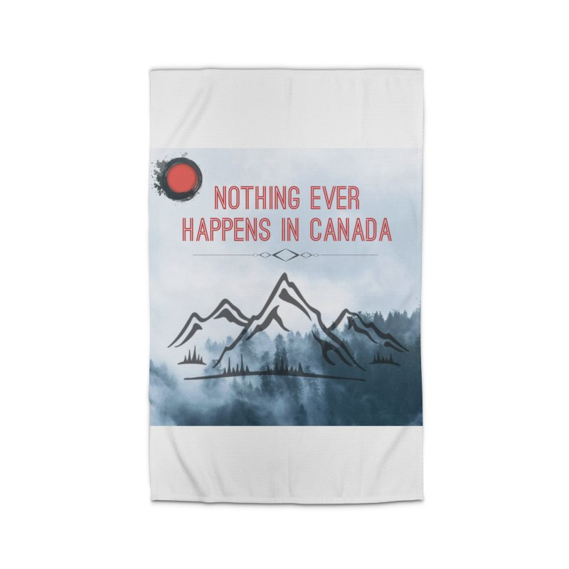 Nothing Ever Happens in Canada - Mountains Home Rug by The Nothing Canada Souvenir Shop