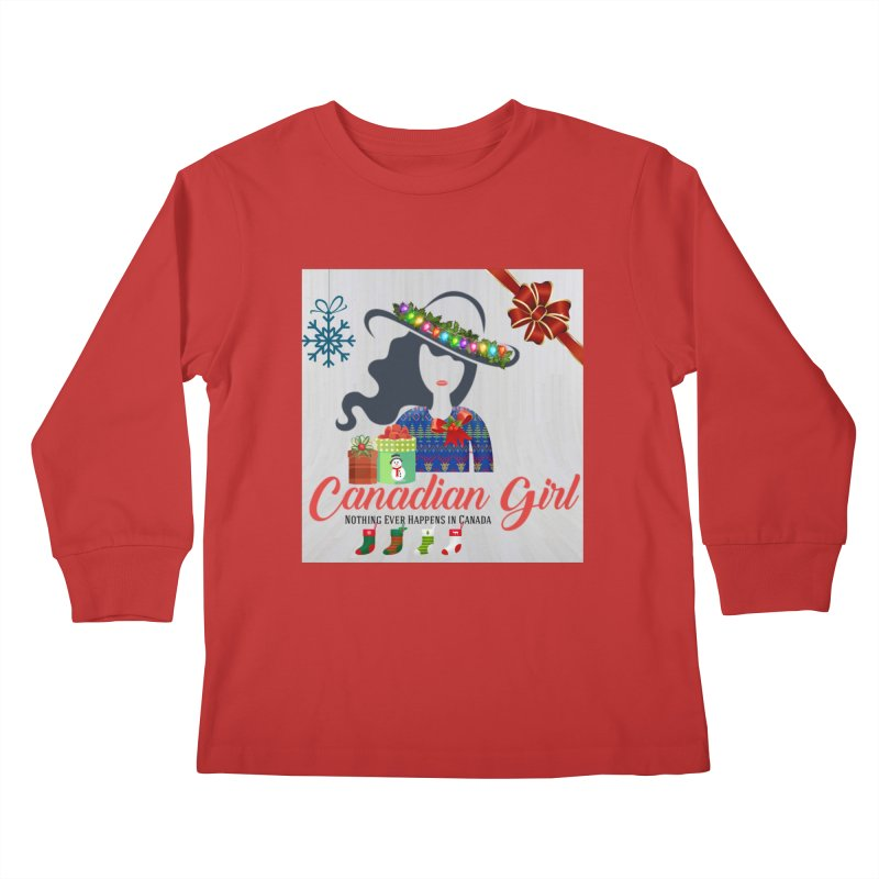Holiday Canadian Girl Kids Longsleeve T-Shirt by The Nothing Canada Souvenir Shop
