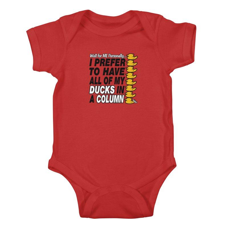 DUCKS IN A COLUMN Kids Baby Bodysuit by NotQuiteRightDesigns