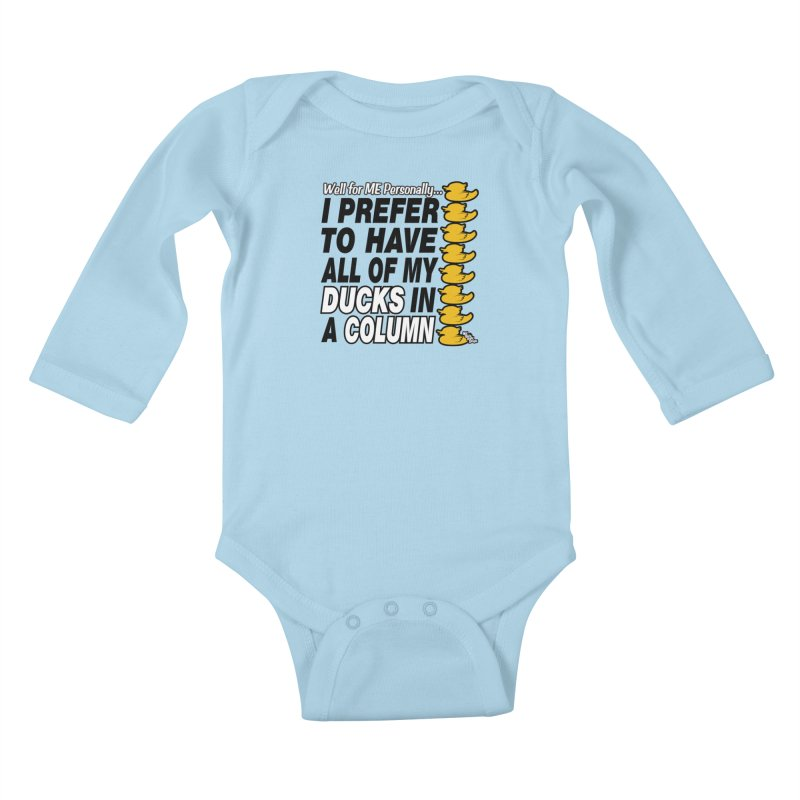 DUCKS IN A COLUMN Kids Baby Longsleeve Bodysuit by NotQuiteRightDesigns