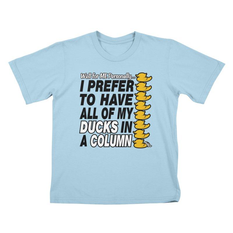DUCKS IN A COLUMN Kids T-Shirt by NotQuiteRightDesigns