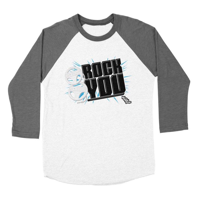 Wii Wheel Wii Wheel Rock You Men's Baseball Triblend T-Shirt by NotQuiteRightDesigns