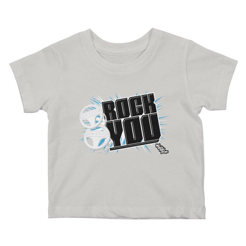 Wii Wheel Wii Wheel Rock You Kids Baby T-Shirt by NotQuiteRightDesigns