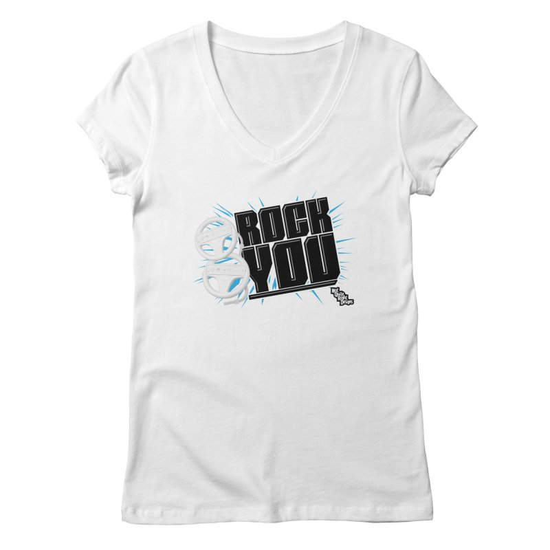 Wii Wheel Wii Wheel Rock You Women's V-Neck by NotQuiteRightDesigns