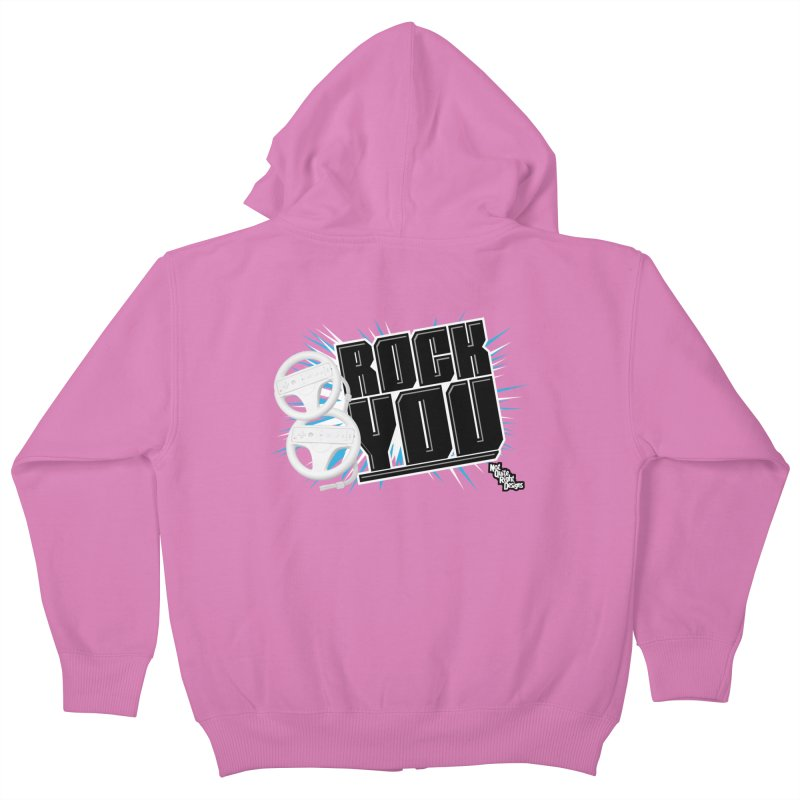Wii Wheel Wii Wheel Rock You Kids Zip-Up Hoody by NotQuiteRightDesigns