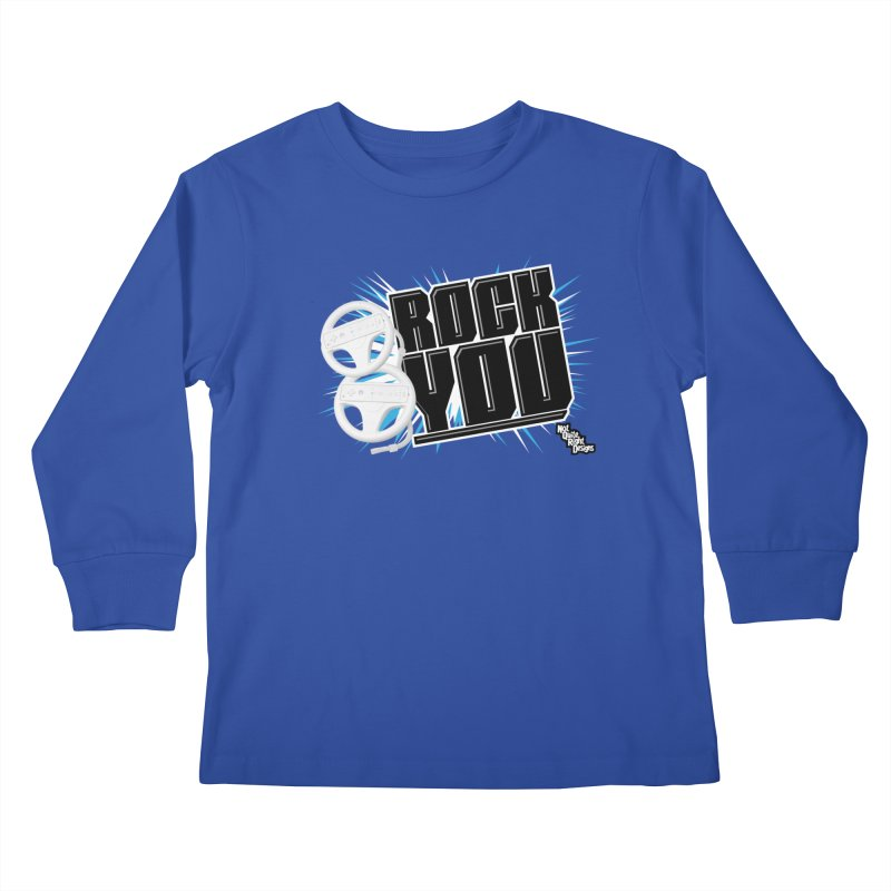 Wii Wheel Wii Wheel Rock You Kids Longsleeve T-Shirt by NotQuiteRightDesigns