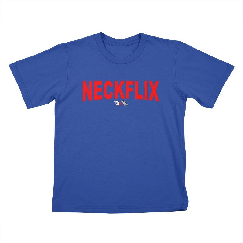 NECKFLIX Kids T-Shirt by NotQuiteRightDesigns