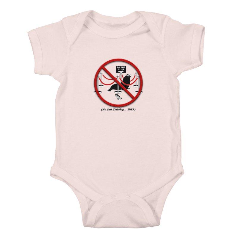 NO SEAL CLUBBING... EVER (on lights) Kids Baby Bodysuit by NotQuiteRightDesigns