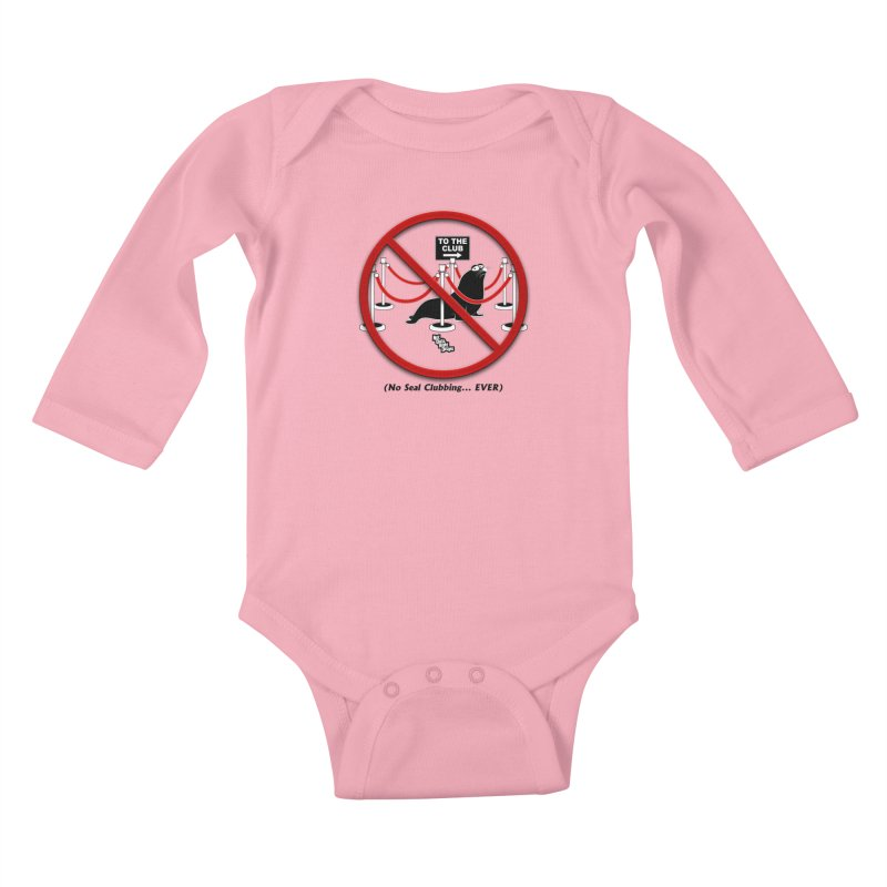 NO SEAL CLUBBING... EVER (on lights) Kids Baby Longsleeve Bodysuit by NotQuiteRightDesigns
