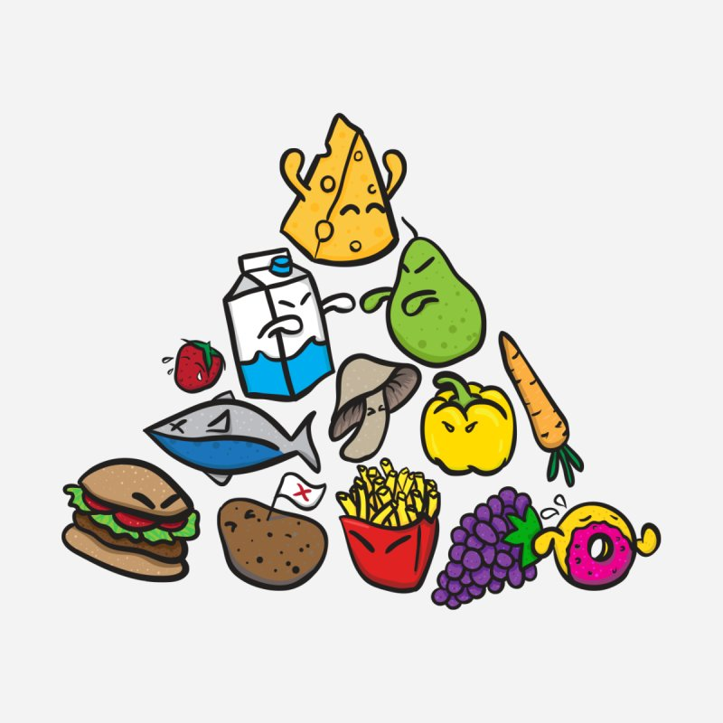 Imbalance Diet Kids T-Shirt by Vectoran