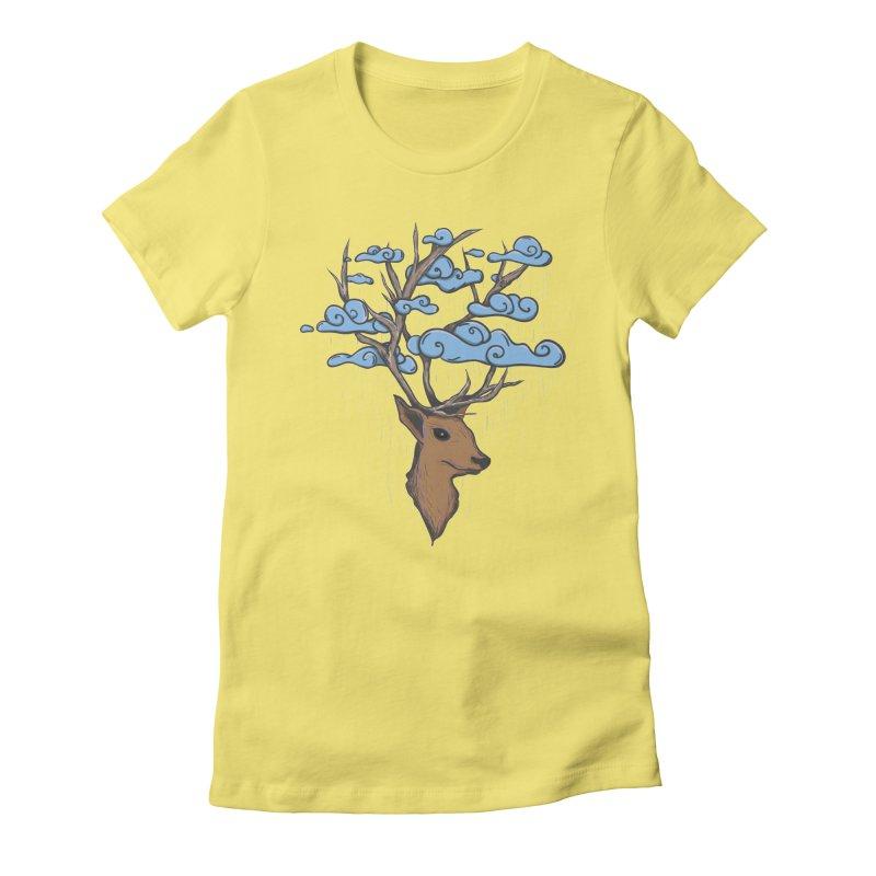 Raindeer Women's Fitted T-Shirt by Vectoran