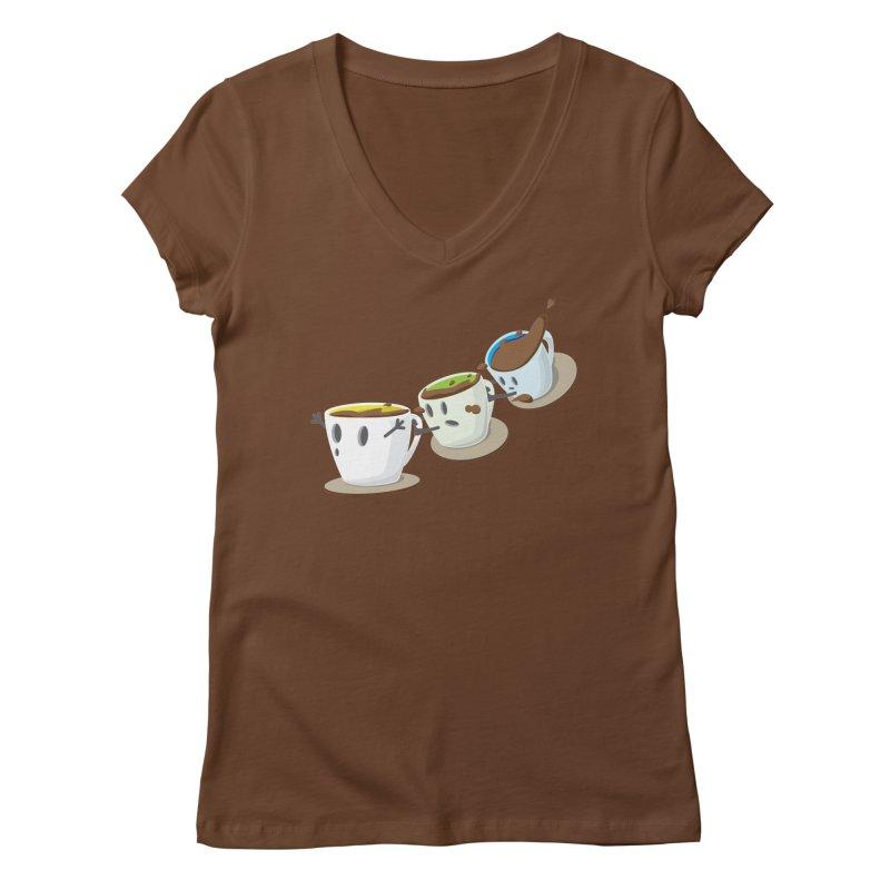 Coffee Coaster Women's V-Neck by Vectoran