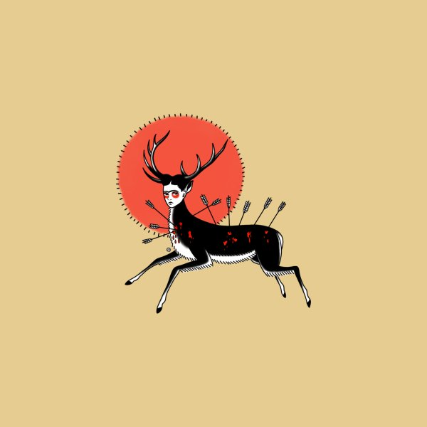 Design for Wounded Deer in traditional tattoo style