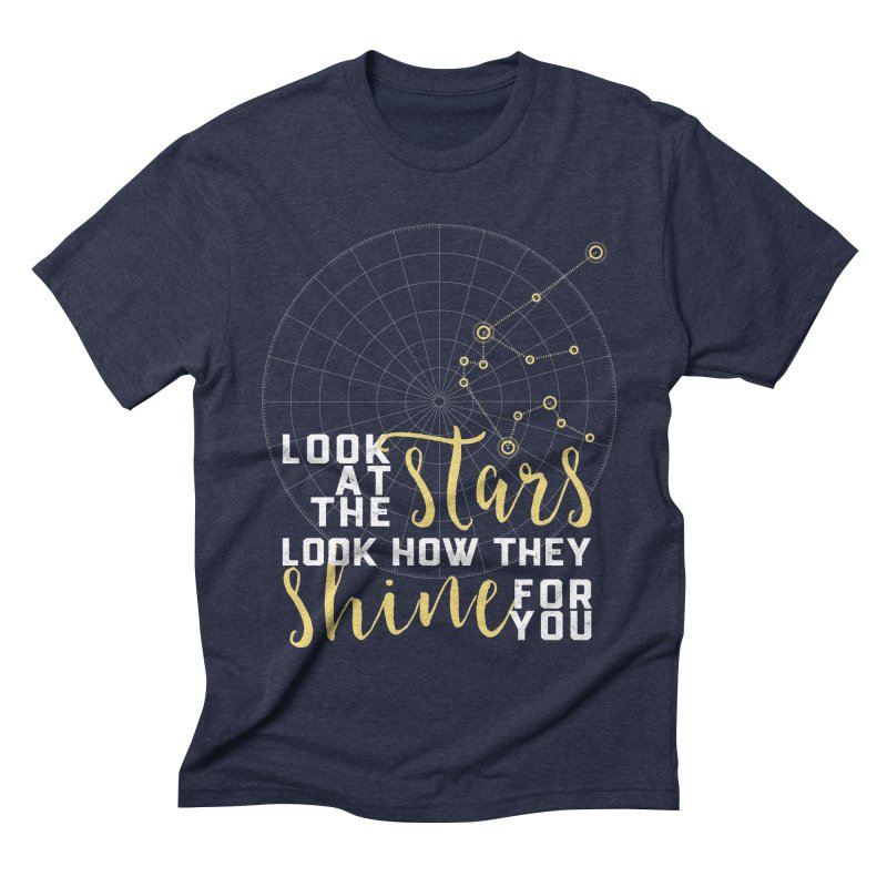 Aquarius Constellation - Look at the Stars in Men's Triblend T-shirt Navy by Nox + Quills Creative
