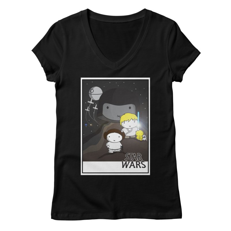 Mini Wars Ep IV Women's Regular V-Neck by nrdshirt's Shop