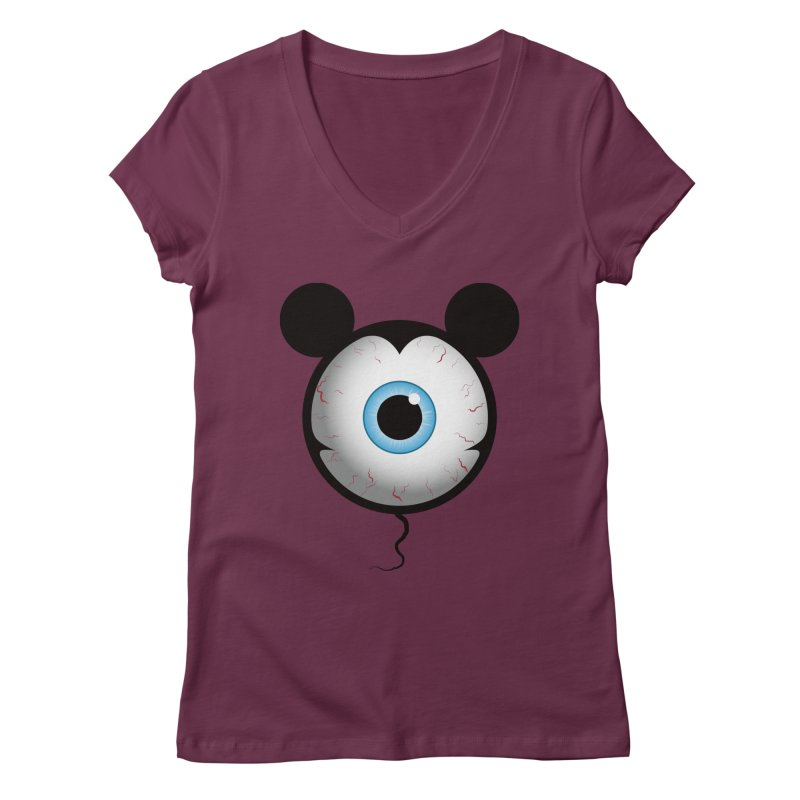 Cyclops Mouse Women's V-Neck by Numb Skull