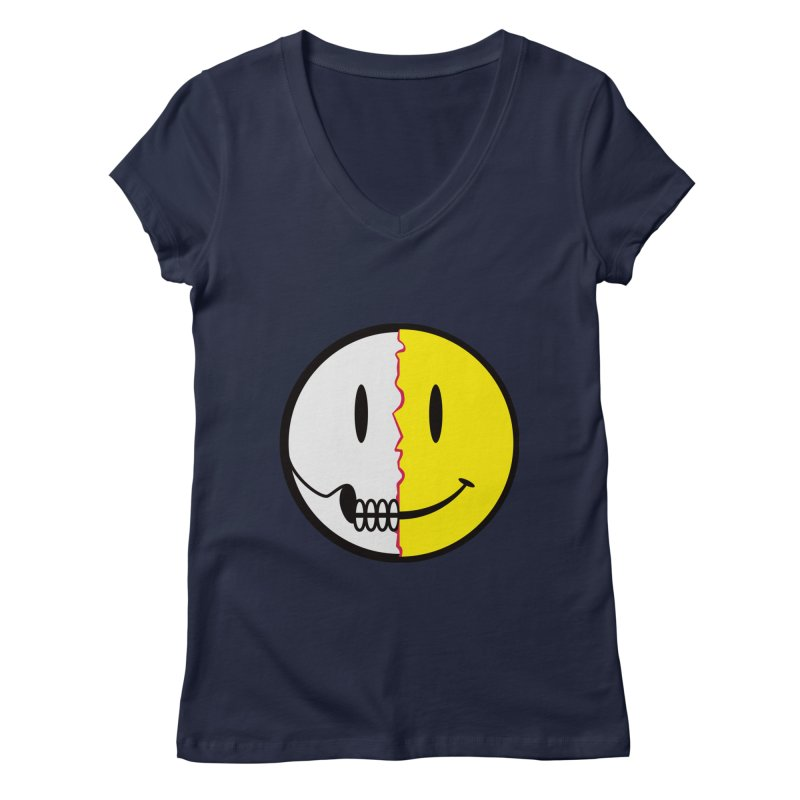 Smiley Dissection  Women's V-Neck by Numb Skull