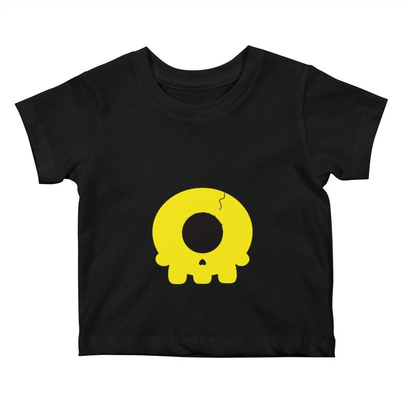Cyclops Skull Kids Baby T-Shirt by Numb Skull