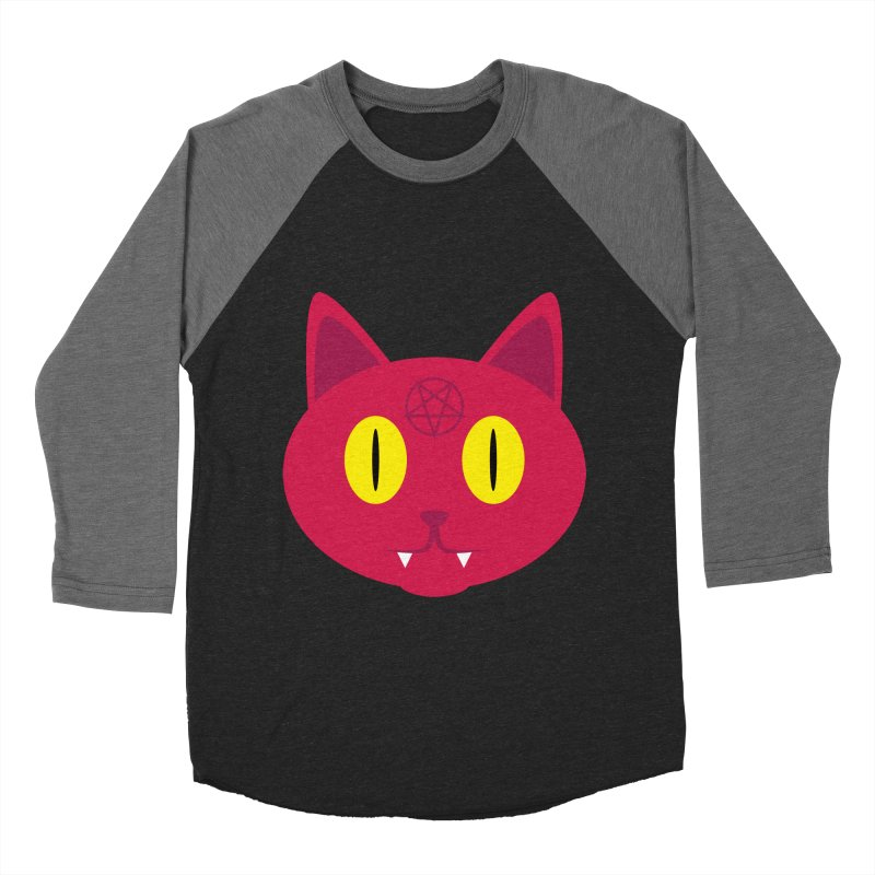 Devil Cat (Red) Women's Baseball Triblend T-Shirt by Numb Skull