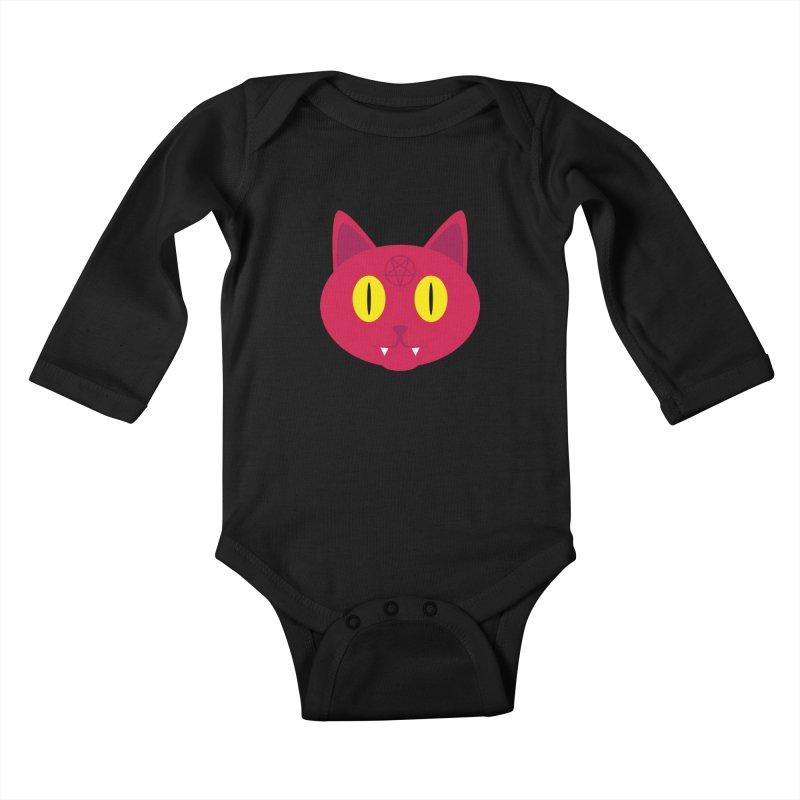 Devil Cat (Red) Kids Baby Longsleeve Bodysuit by Numb Skull