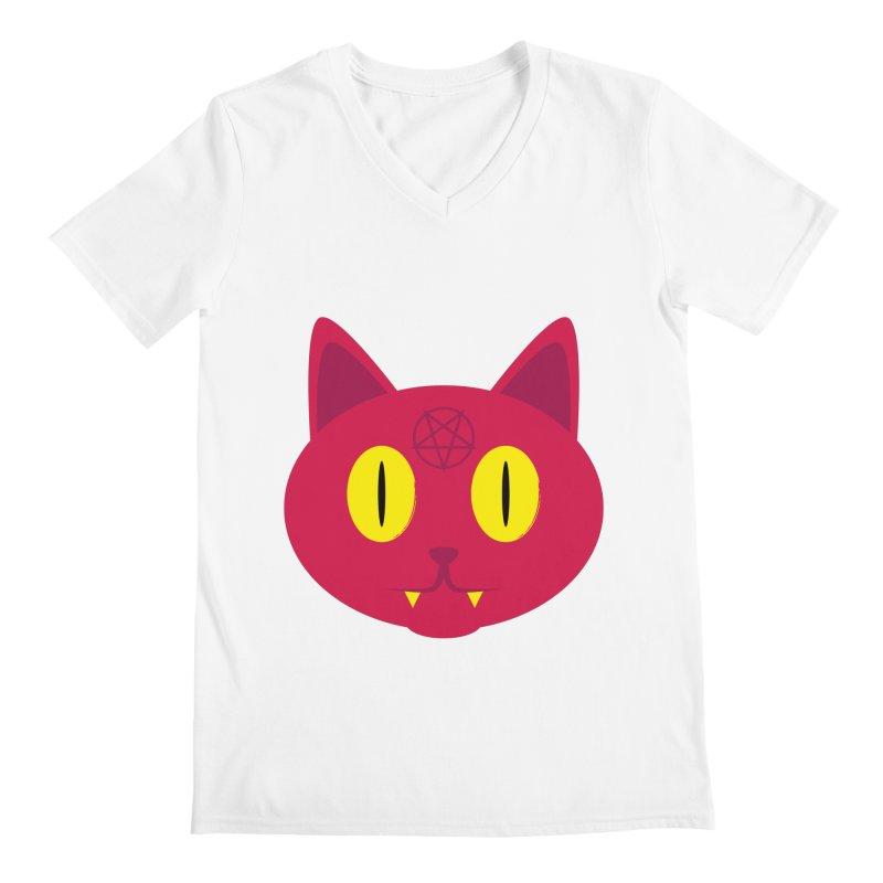 Devil Cat (Red) Men's V-Neck by Numb Skull