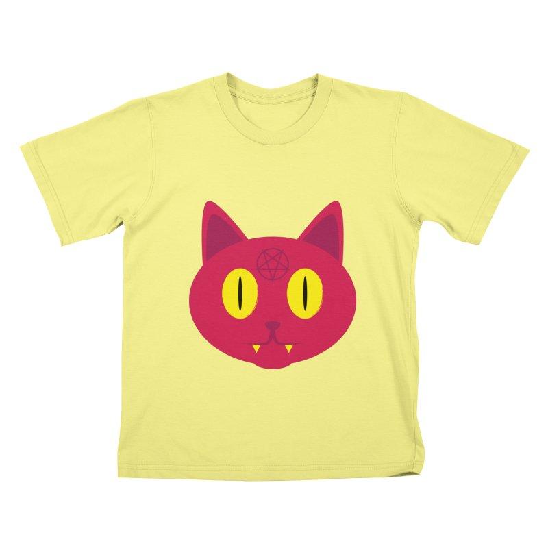 Devil Cat (Red) Kids T-shirt by Numb Skull