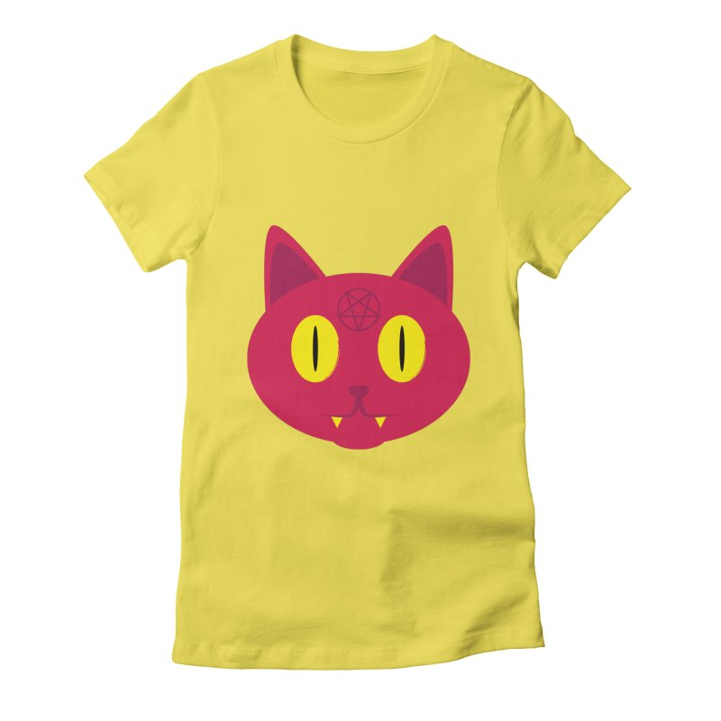 Devil Cat (Red) Women's Fitted T-Shirt by Numb Skull