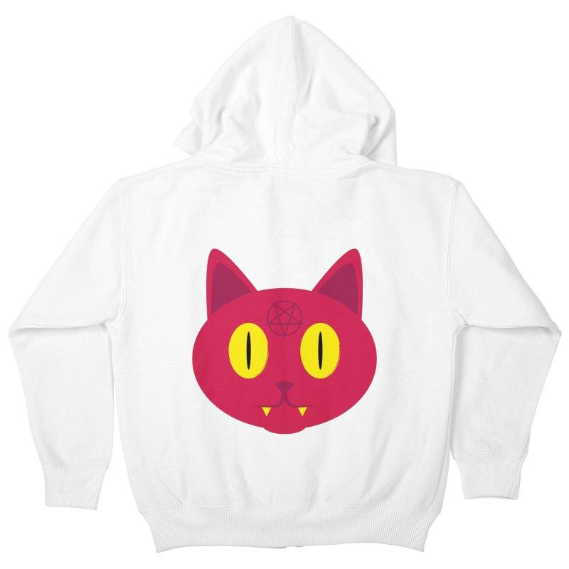 Devil Cat (Red) Kids Zip-Up Hoody by Numb Skull