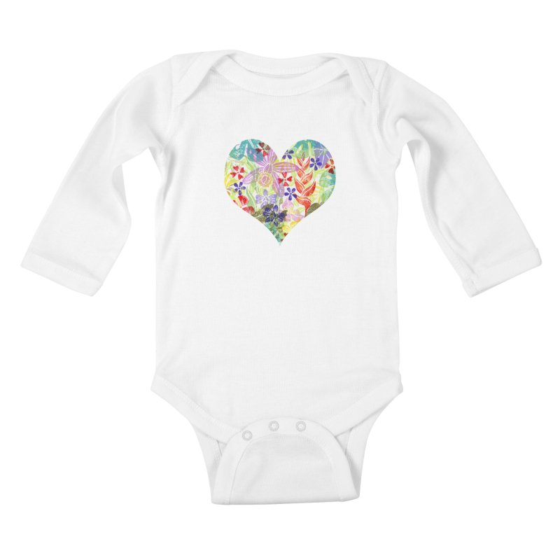 Jungle Love Kids Baby Longsleeve Bodysuit by Nuviart's Artist Shop
