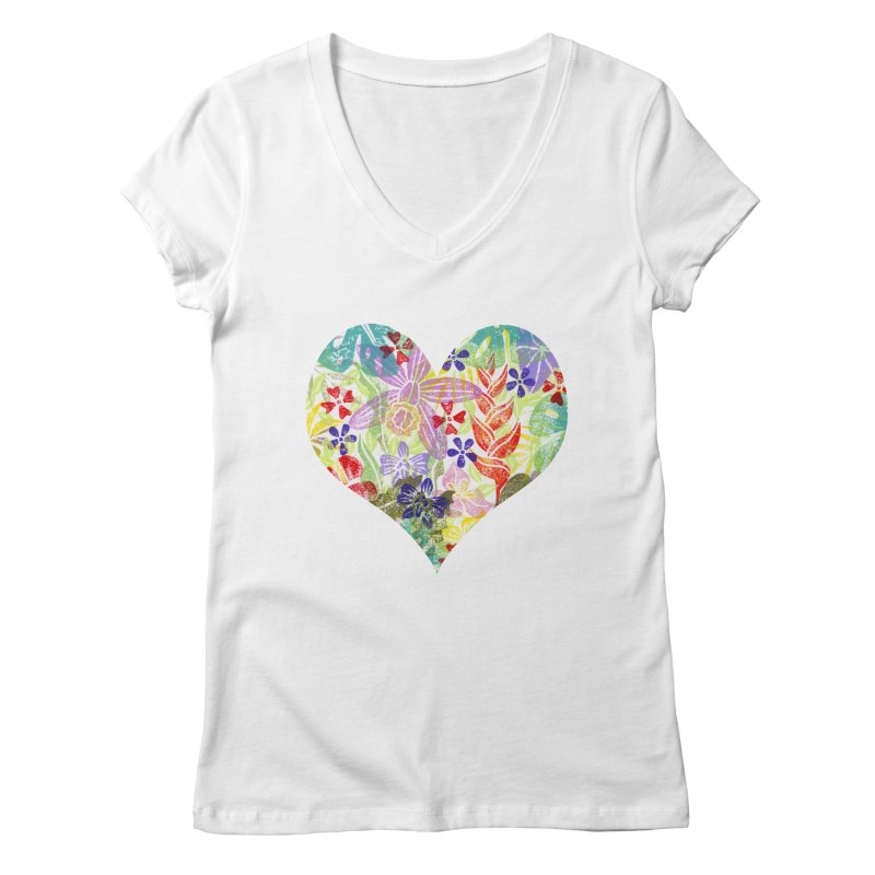 Jungle Love Women's Regular V-Neck by Nuviart's Artist Shop