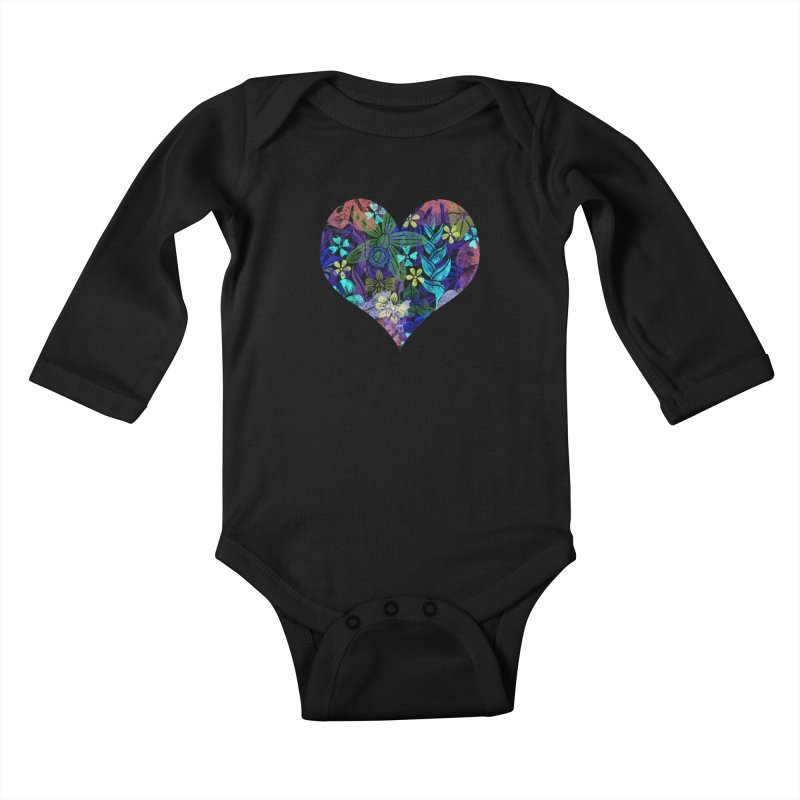 Night Jungle Love Kids Baby Longsleeve Bodysuit by Nuviart's Artist Shop
