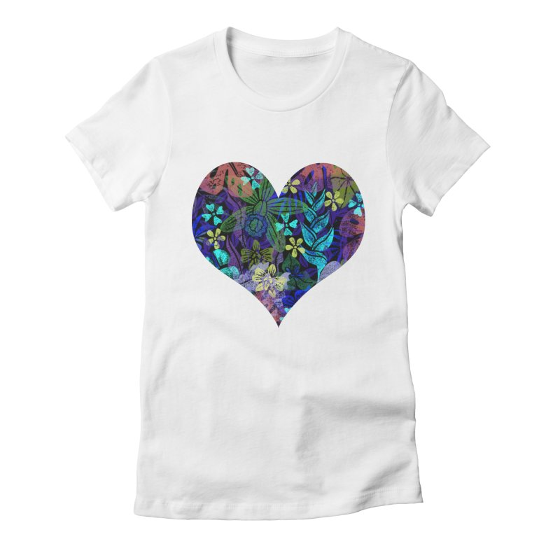Night Jungle Love Women's Fitted T-Shirt by Nuviart's Artist Shop