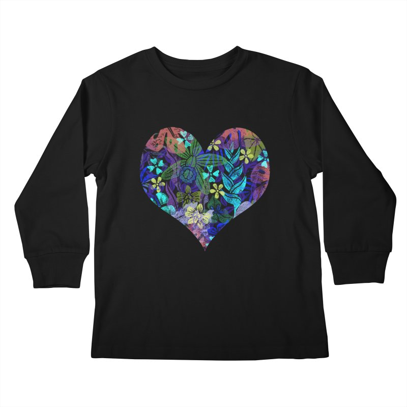 Night Jungle Love Kids Longsleeve T-Shirt by Nuviart's Artist Shop