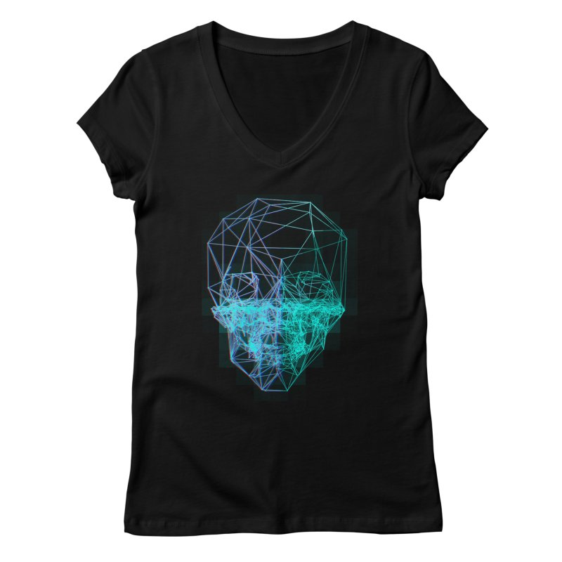 Death in 3D Women's Regular V-Neck by nvil's Artist Shop