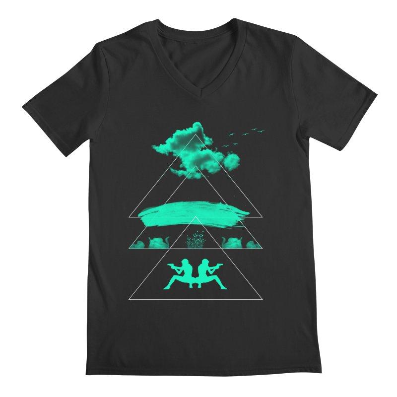 Smoky Triangles Men's V-Neck by nvil's Artist Shop