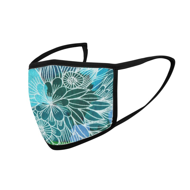 Aqua blue summer flowers Accessories Face Mask by Floresta moon