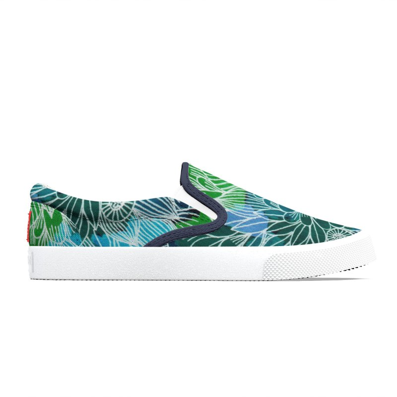 Aqua blue summer flowers Men's Shoes by Floresta moon