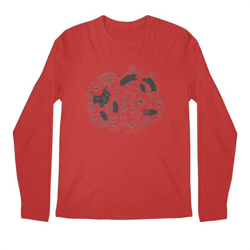 flower and cat Men's Longsleeve T-Shirt by nyc917's Artist Shop