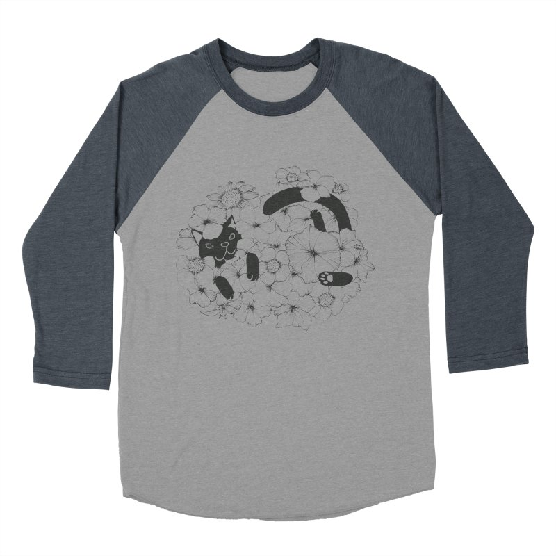 flower and cat Men's Baseball Triblend T-Shirt by nyc917's Artist Shop