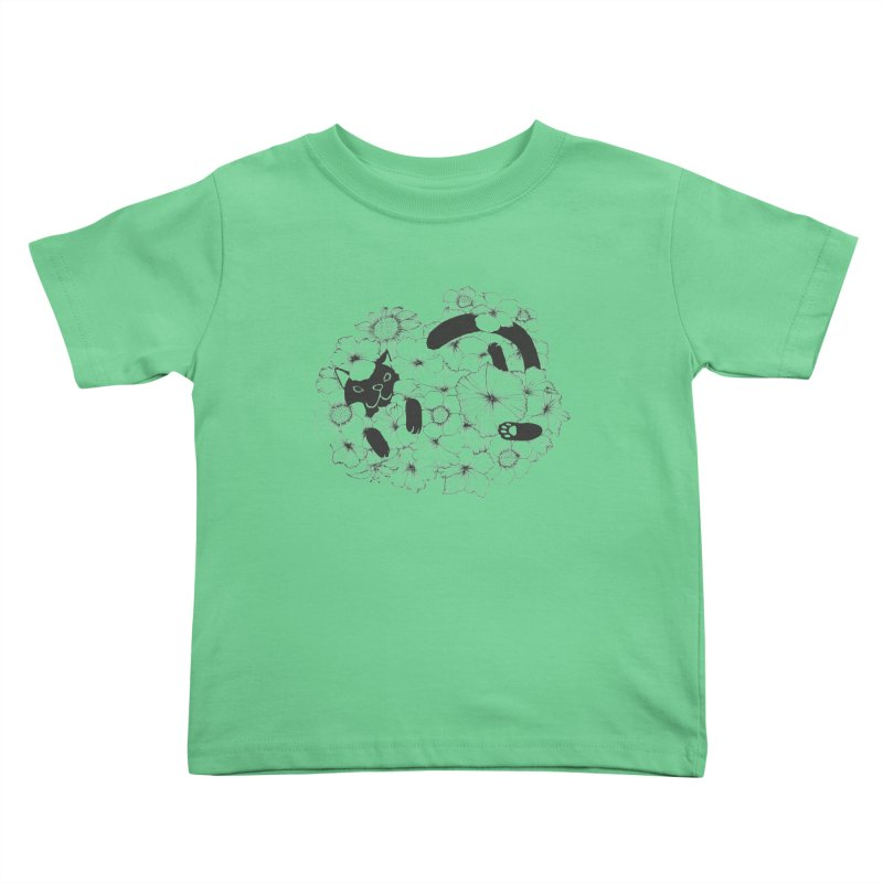 flower and cat Kids Toddler T-Shirt by nyc917's Artist Shop