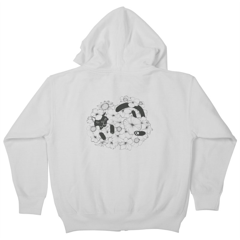 flower and cat Kids Zip-Up Hoody by nyc917's Artist Shop