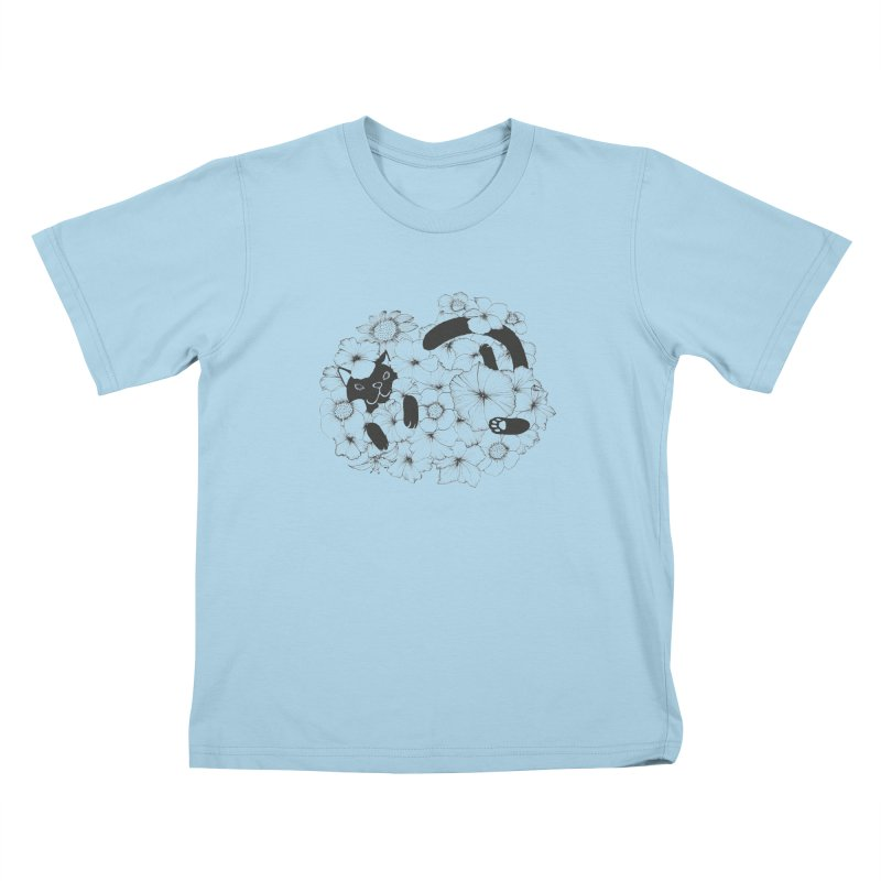 flower and cat Kids T-shirt by nyc917's Artist Shop