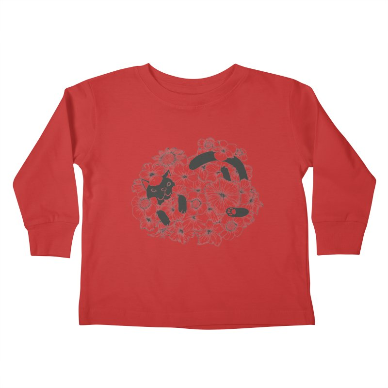 flower and cat Kids Toddler Longsleeve T-Shirt by nyc917's Artist Shop