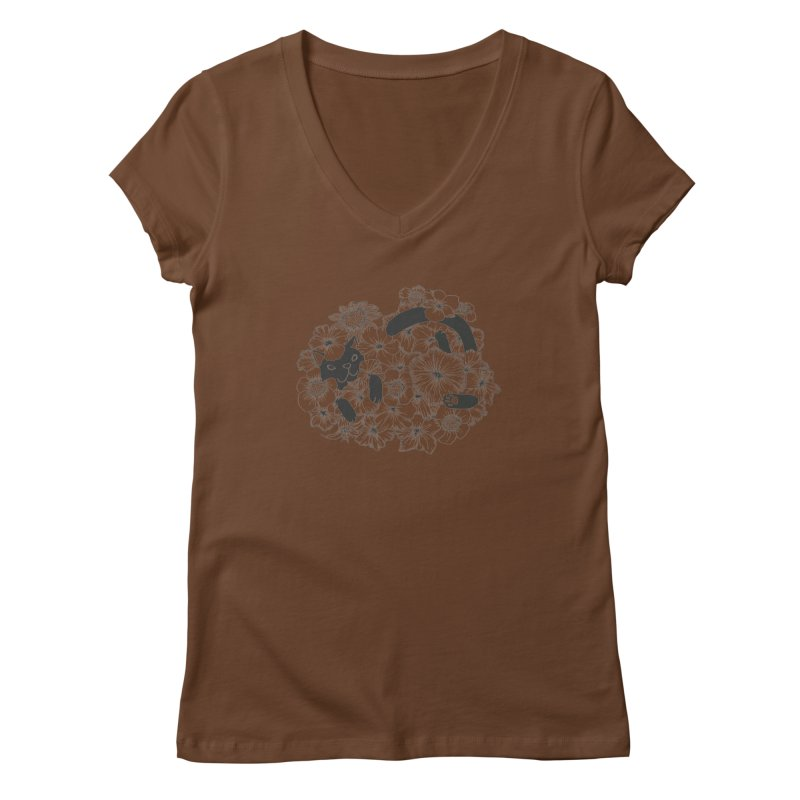 flower and cat Women's V-Neck by nyc917's Artist Shop