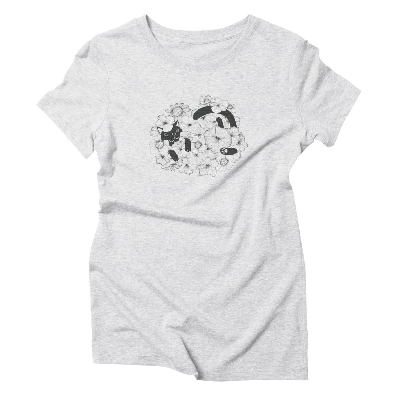 flower and cat Women's Triblend T-Shirt by nyc917's Artist Shop